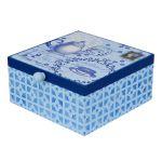 Caixa decorada de chá em MDF azul