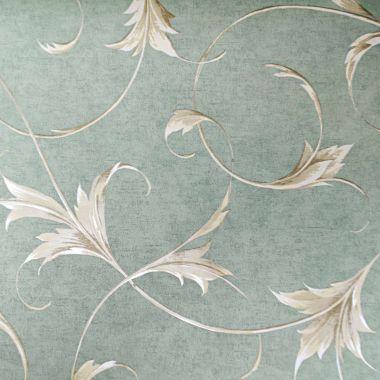 Papel de Parede Floral Vintage Verde e Dourado Kapa KP0413A-AP Amostra Pequena