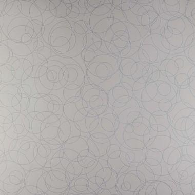 Papel de Parede PVC Branco Multi Círculos Prata Brilhante Kapa KP0501B-AP Amostra Pequena