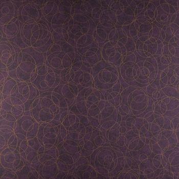 Papel de Parede PVC Roxo Manchado Círculos Dourados Kapa KP0504B